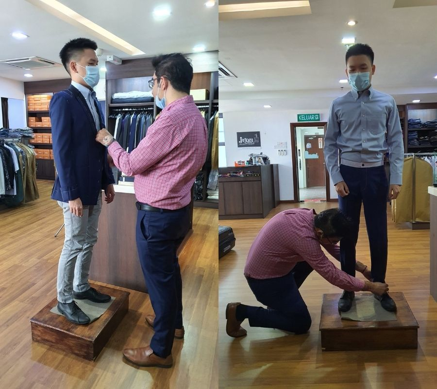 First fitting session at Jason's Men Shop